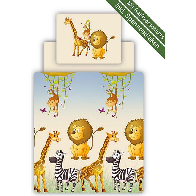 TiCAA Kinder Bettwäsche Set inkl. Spannbettlaken Safari - Bild 1