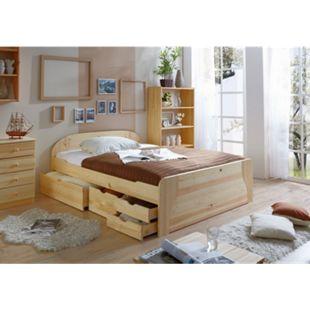 TiCAA Doppelbett mit Schubkästen Erna Kiefer Natur - Bild 1