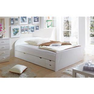 TiCAA Doppelbett mit Schubkästen Erna Kiefer Weiß - Bild 1