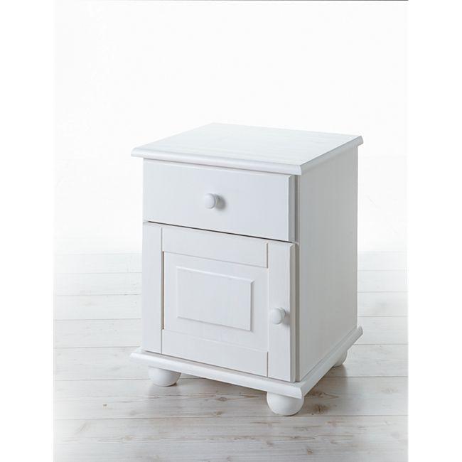 TiCAA Nachtkommode Olivier Kiefer mit 1 Schublade Weiß - Bild 1