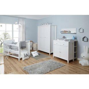 TiCAA Babyzimmer Rosa 4-teilig Massivholz Weiß gewachst - Bild 1