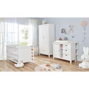 TiCAA Babyzimmer Morgenroth 5-teilig Massivholz Weiß - Bild 1