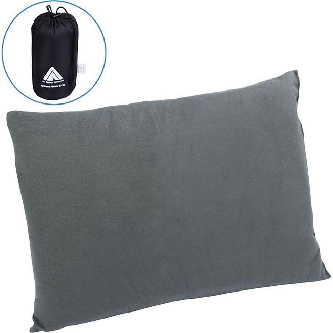 10T Deluxe Pillow Grau 40x30x10 cm Fleece Kissen Reisekissen Kopfkissen Nackenkissen mit Packsack - Bild 1