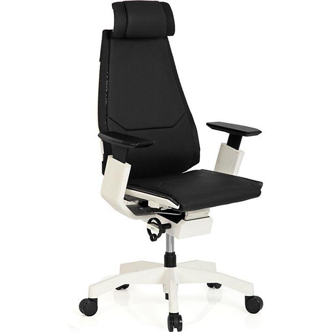 hjh OFFICE High End Bürostuhl GENIDIA PRO WHITE mit Armlehnen