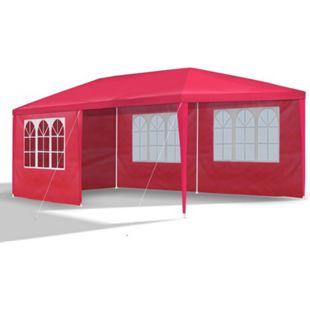 JOM Gartenpavillon 3 x 6 m, rot, Pavillon, Pavillion, Partyzelt, Festzelt, Gartenzelt, mit 6 Seitenwänden 110G PE - Bild 1