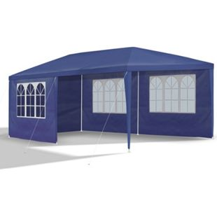 JOM Gartenpavillon 3 x 6 m, blau, Pavillon, Pavillion, Partyzelt, Festzelt, Gartenzelt, mit 6 Seitenwänden 110G PE - Bild 1