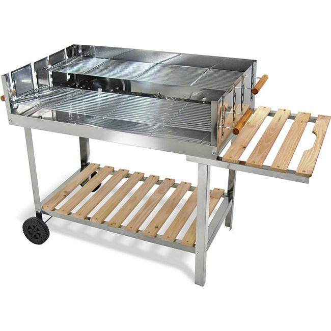 JOM Edelstahl Barbecue Holzkohle Grill Grillwagen BBQ 136 x 60 x 93 cm Mega XXL - Bild 1
