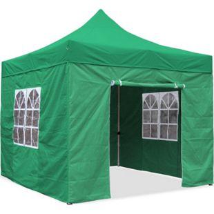 JOM Falt-Pavillon, 3 x 3 m, grün, Profi Ausführung, Material Oxford 420 D, wasserdicht, 4 Seitenwände, Befestigung Seitenwände mit Reißverschluß - Neue Version 2020 - Bild 1