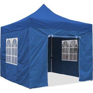 JOM Falt-Pavillon, 3 x 3 m, blau, Profi Ausführung, Material Oxford 420 D, wasserdicht, 4 Seitenwände Befestigung mit Reißverschluß - Neue Version 2020 - Bild 1