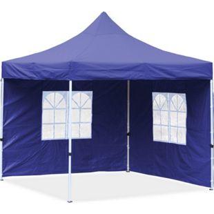 JOM Falt-Pavillon, 3 x 3 m, blau,  Profi Ausführung, Material Oxford 420 D, wasserdicht, 2 Seitenwände, Befestigung Seitenwände mit Reißverschluß - Neue Version 2020 - Bild 1
