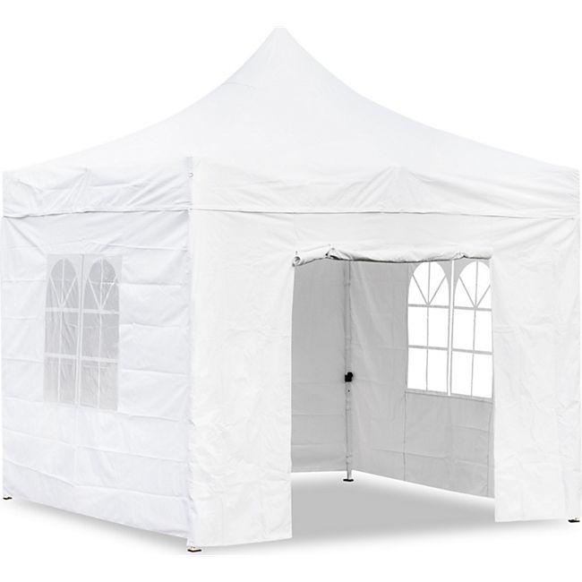 JOM Falt-Pavillon, 3 x 3 m, weiss, Profi Ausführung, Material Oxford 420 D, wasserdicht, 4 Seitenwände Befestigung mit Reißverschluß - Neue Version 2020 - Bild 1