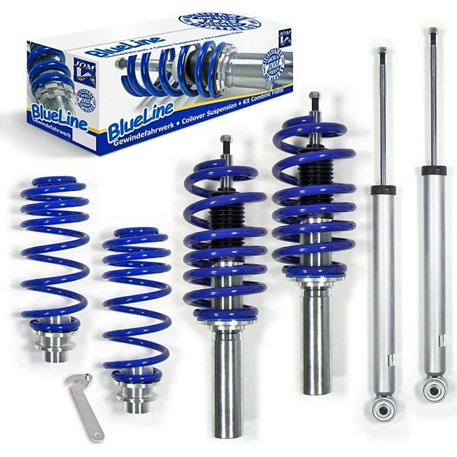 JOM BlueLine Gewindefahrwerk passend für Audi A5 8T 1.8 TFSI, 2.0 TDI, 2.0 TFSI, 2.7 TDI, 3.0 TDI, 3.2 FSI, Baujahr 2007-2011, inkl. Fahrzeuge mit Allradantrieb - Bild 1