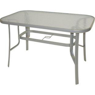 DEGAMO Gartentisch 120x70cm, Metall grau + Glas - Bild 1