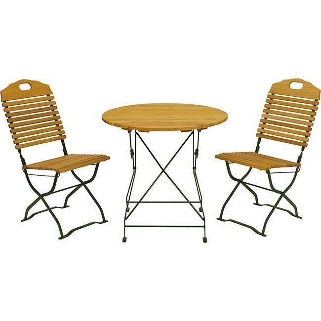 degamo kurgarten garnitur bad t lz 3 teilig flachstahl gr n robinie klappbar online kaufen. Black Bedroom Furniture Sets. Home Design Ideas