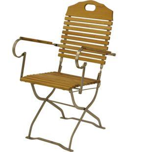 DEGAMO Kurgarten - Sessel BAD TÖLZ, Flachstathl verzinkt + Robinie, klappbar - Bild 1