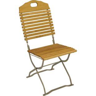 DEGAMO Kurgarten- Stuhl BAD TÖLZ, Flachstahl verzinkt + Robinie, klappbar, 2 Stück - Bild 1