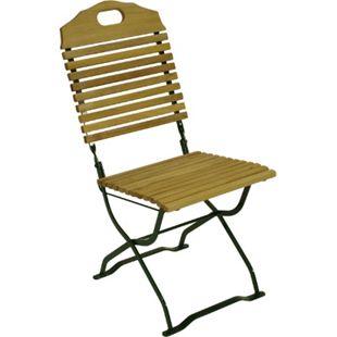 DEGAMO Kurgarten- Stuhl BAD TÖLZ, Flachstahl grün + Robinie, klappbar, 2 Stück - Bild 1