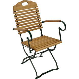 DEGAMO Kurgarten - Sessel BAD TÖLZ, Flachstathl grün + Robinie, klappbar - Bild 1