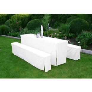 DEGAMO Hussen-Set für Festzeltgarnitur mit 70cm-Tisch, gepolstert, weiss - Bild 1