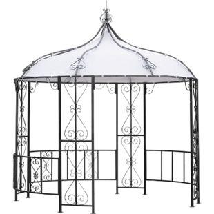 DEGAMO Pavillon BURMA 300cm rund,  Stahl grau, Plane PVC-beschichtet weiss - Bild 1