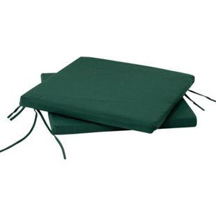DEGAMO Sitzkissen dunkelgrün für Gartenstuhl, 41x40cm, 2 Stück - Bild 1