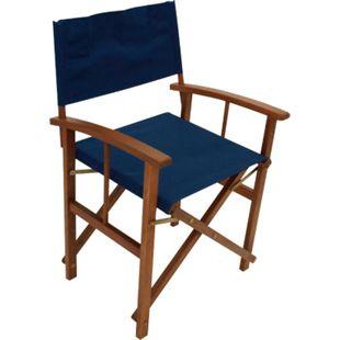 DEGAMO Regiesessel SPRINGFIELD 2-er Set, Eukalyptusholz, Bezug dunkelblau - Bild 1