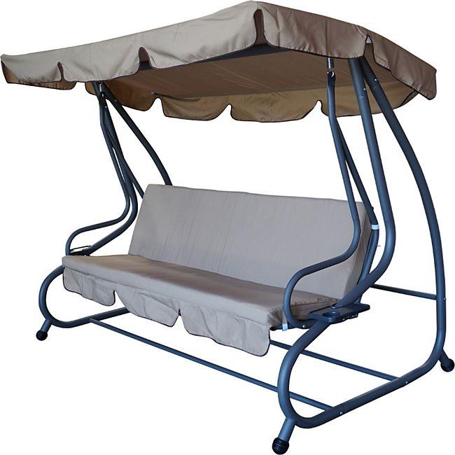 degamo hollywoodschaukel miami 4 sitzer grau creme mit. Black Bedroom Furniture Sets. Home Design Ideas