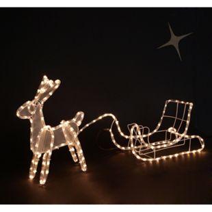 DEGAMO Standsilhouette Rentier mit Schlitten 95cm, 168 LED warmweiss - Bild 1