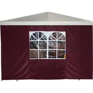 DEGAMO Seitenplane für Pavillon, 3x1,9 Meter, Polyester bordeaux mit Fenster - Bild 1