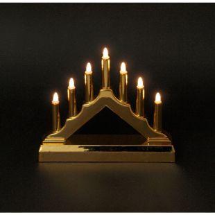 DEGAMO Kerzenbogen mit 7 Lichtern LED 15,5cm, BATTERIEBETRIEB,  gold - Bild 1