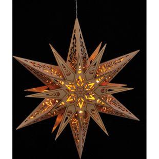 DEGAMO Fensterbild Stern aus Holz 30cm, beleuchtet, Batteriebetrieb - Bild 1
