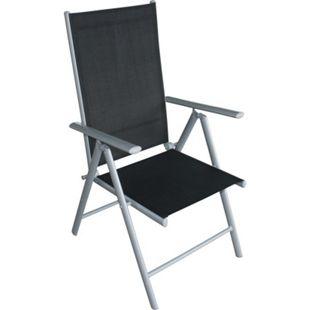 DEGAMO 4x Klappsessel RAVENNA Alu + Textilen schwarz (4-er Set) - Bild 1