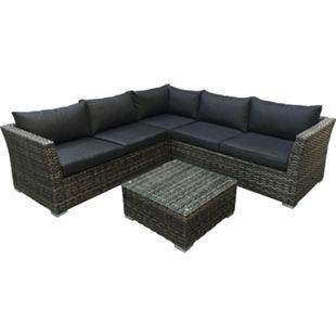 DEGAMO Lounge - Set ALMERIA, Aluminium + Polyrattan grau-bicolor, Polster dunkelgrau - Bild 1