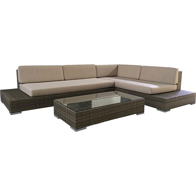 degamo lounge set lucca aluminium polyrattan braun. Black Bedroom Furniture Sets. Home Design Ideas