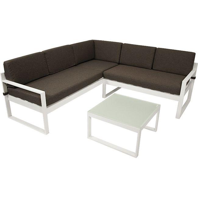DEGAMO Lounge - Set  ARESE, Aluminium weiss, Polster dunkelgrau - Bild 1