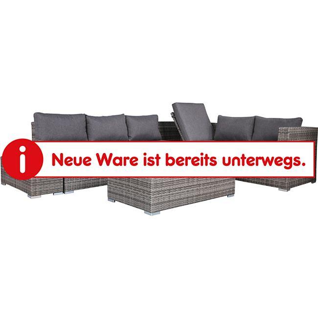 DEGAMO Funktions Lounge - Set LORENZO, Aluminium + Polyrattan grau, Polster dunkelgrau - Bild 1