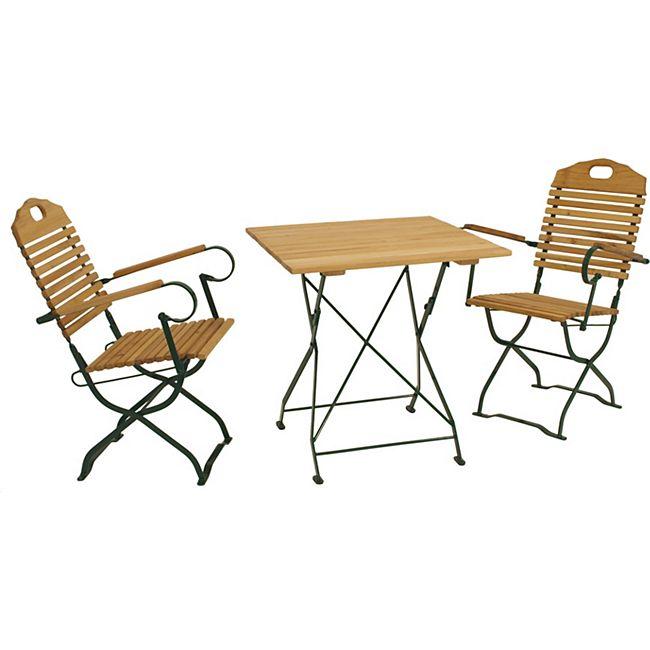 DEGAMO Kurgarten Garnitur BAD TÖLZ 3-teilig, Flachstahl grün + Robinie, klappbar (2x Sessel, 1x Tisch 70x70cm) - Bild 1