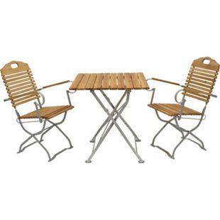 DEGAMO Kurgarten - Garnitur BAD TÖLZ 3-teilig, Flachstahl verzinkt + Robinie, klappbar (2x Sessel, 1x Tisch 70x70cm)