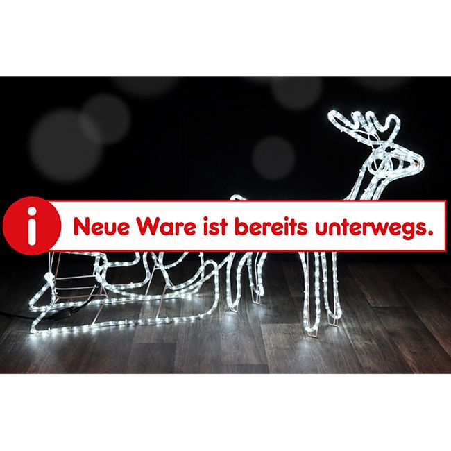 DEGAMO Standsilhouette Rentier mit Schlitten grosse Ausführung 145cm, 432 LED eisweiss - Bild 1