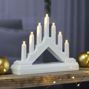 DEGAMO Kerzenbogen elektrisch mit 7 LED kleine Ausführung, Kunststoff weiß - Bild 1