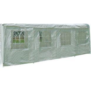 DEGAMO Seitenplane für Partyzelt, Länge 8 Meter, PE weiß mit Fenstern - Bild 1
