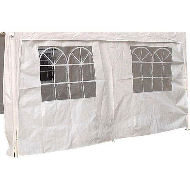 DEGAMO Seitenplane für Partyzelt, Länge 4 Meter, PVC weiß mit Fenstern - Bild 1