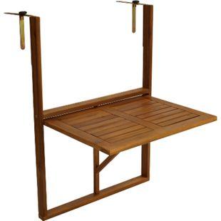 DEGAMO Balkonhängetisch 60x40cm, Akazie geölt, verstellbare Halterung - Bild 1