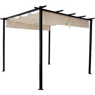 DEGAMO Pavillon ANTIBES 3x3 Meter, Stahl schwarz, Schiebeplane écru - Bild 1