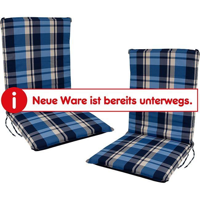 DEGAMO Auflage CAIRO für Stuhl, blau-kariert, 2 Stück - Bild 1