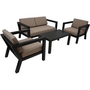 DEGAMO Lounge Set  GOA, Aluminium grau, Polster taupefaben - Bild 1