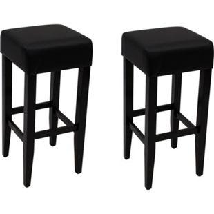 DEGAMO Barhocker BODEGA, Gestell Akazienholz schwarz, Sitz Kunstleder schwarz, 2 Stück - Bild 1