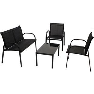 DEGAMO Lounge Set ARONA 4-teilig, Metall + Kunstgewebe schwarz - Bild 1