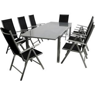 DEGAMO Garnitur RAVENNA 9-teilig, Aluminium + Kunstgewebe schwarz - Bild 1