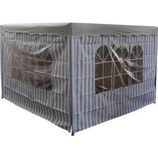 DEGAMO Seitenplanen Set 2-teilig  für Pavillon, 3x2 Meter, grau/weiss, mit Fenstern - Bild 1
